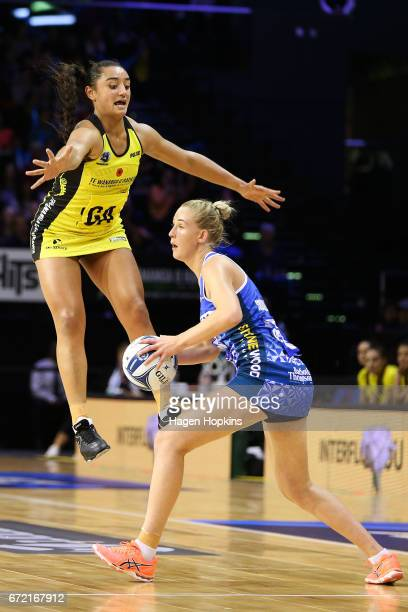 Tiana Metuarau of the Pulse defends against Michaela SokolichBeatson of the Mystics during the New Zealand Premiership match between the Pulse and...