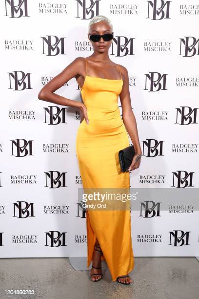 Tiana Parker poses backstage for Badgley Mischka during New York Fashion Week: The Shows at Gallery I at Spring Studios on February 08, 2020 in New...