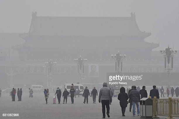 Tiananmen Square in Beijing is blanketed by heavy smog on Dec 21 2016