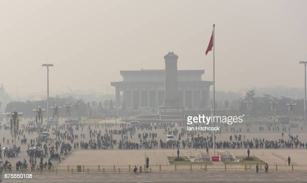 Tiananmen Square is seen from the elevated vantage point of Tiananmen at the Forbidden City on April 3 2017 in Beijing China