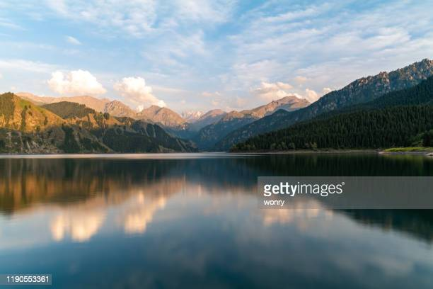 tianchi lake in xinjiang, china - tien shan mountains stock pictures, royalty-free photos & images