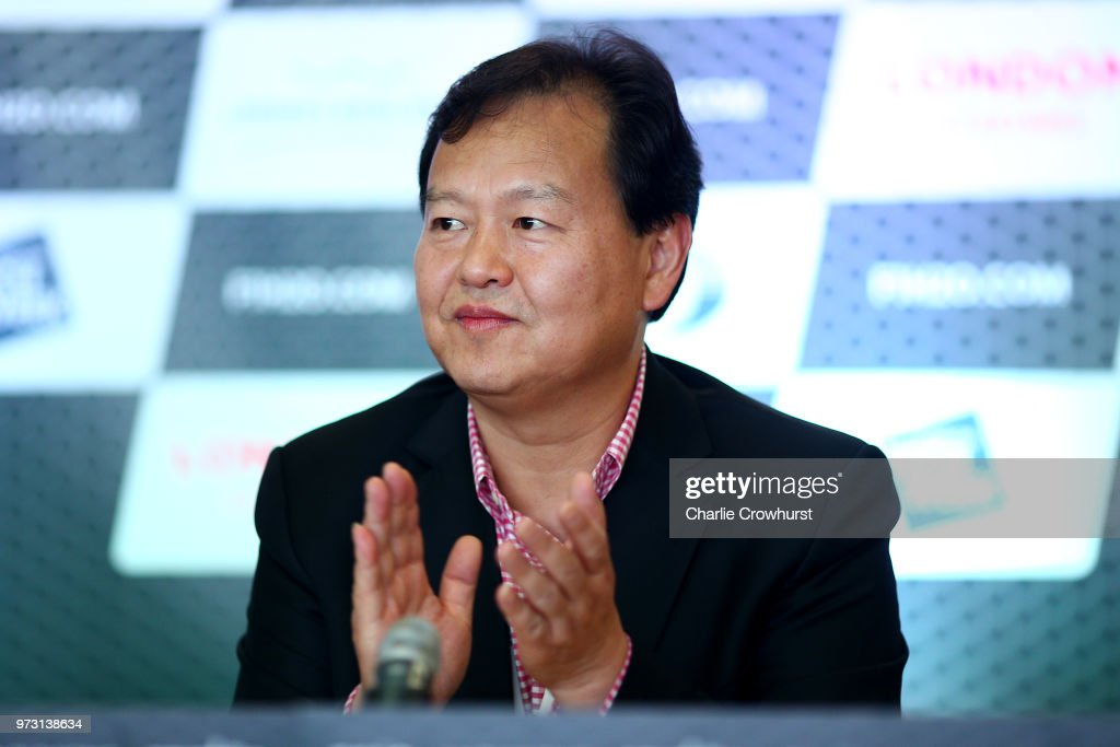 Tiang Rang Chairman Mr Li Haojie chats to media during the World Championship's press conference, ahead of the London Grand Prix, at ExCel on June 13, 2018 in London, England.