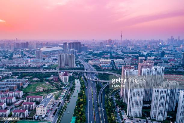 tianjin aerial view - liyao xie stock pictures, royalty-free photos & images