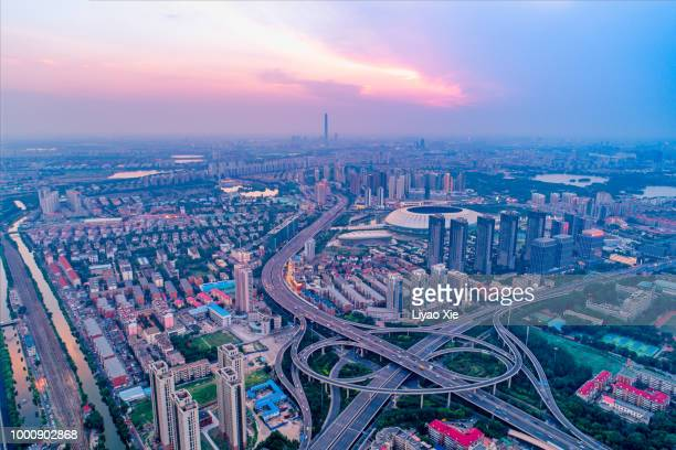 tianjin cityscape aerial view - liyao xie stock pictures, royalty-free photos & images
