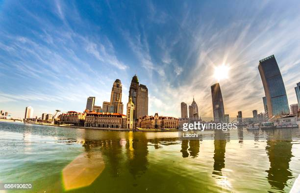 tianjin cityscape, sunny sky with modern buildings. china - tianjin stock pictures, royalty-free photos & images