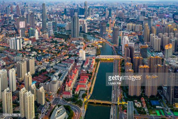 tianjin haihe cityscape - liyao xie stock pictures, royalty-free photos & images