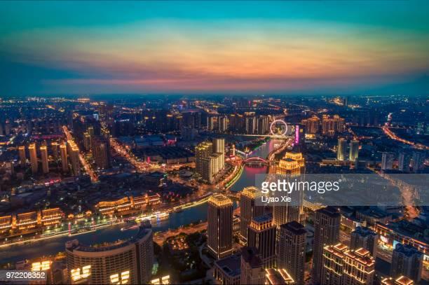 tianjin high angle cityscape - liyao xie fotografías e imágenes de stock