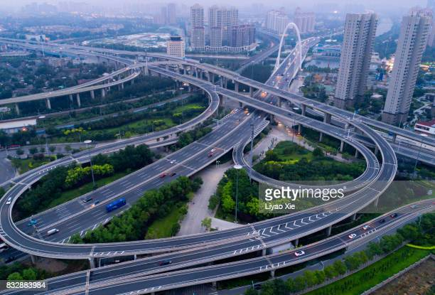 tianjin overpass - liyao xie stock pictures, royalty-free photos & images