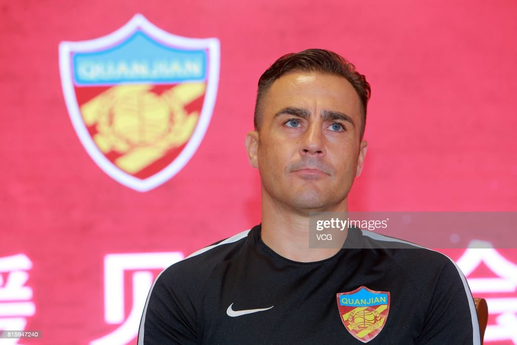 Tianjin Quanjian manager Fabio Cannavaro attends a press conference of Tianjin Quanjian FC on July 17, 2017 in Tianjin, China. Anthony Modeste plays for Tianjin Quanjian in the 2017 Chinese Super League (CSL) matches.