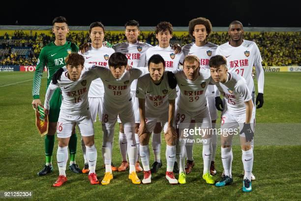 Tianjin Quanjian players line up for the star group shot before the AFC Champions League match between Kashiwa Reysol and Tianjin Quanjian at Sankyo...