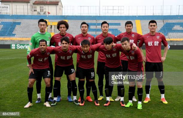 Tianjin Quanjian pose for a photo prior to the friendly match between AC Pisa and Tianjin Quanjian at Arena Garibaldi on February 8 2017 in Pisa Italy