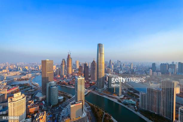 Tianjin skyline at sunset