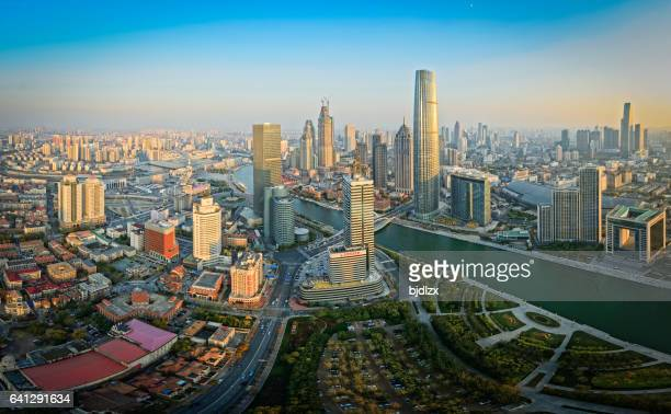 tianjin skyline at sunset - tianjin stock pictures, royalty-free photos & images
