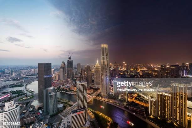 Tianjin Urban Skyline, Day to Night