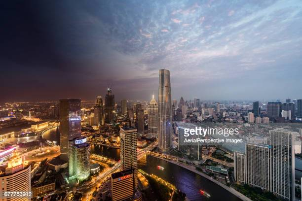 Tianjin Urban Skyline, Night to Day