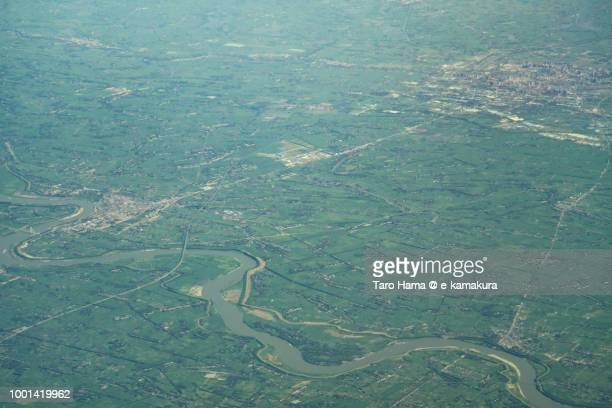 tianmen city in hubei province in china daytime aerial view from airplane - tianmen stock pictures, royalty-free photos & images