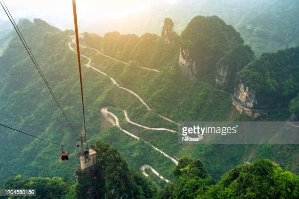 tianmen mountain, view from cable car, zhangjiajie national park, china - national landmark stock pictures, royalty-free photos & images