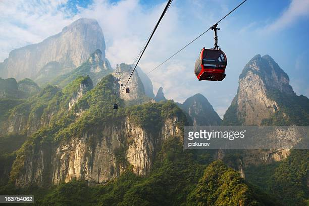 tianmenshan landscapes - cable car stock pictures, royalty-free photos & images