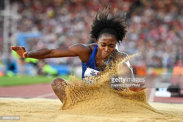 Tianna Bartoletta competes in the Women's Long Jump event during the Diamond League Athletics meeting 'Weltklasse' on September 1 2016 at the...