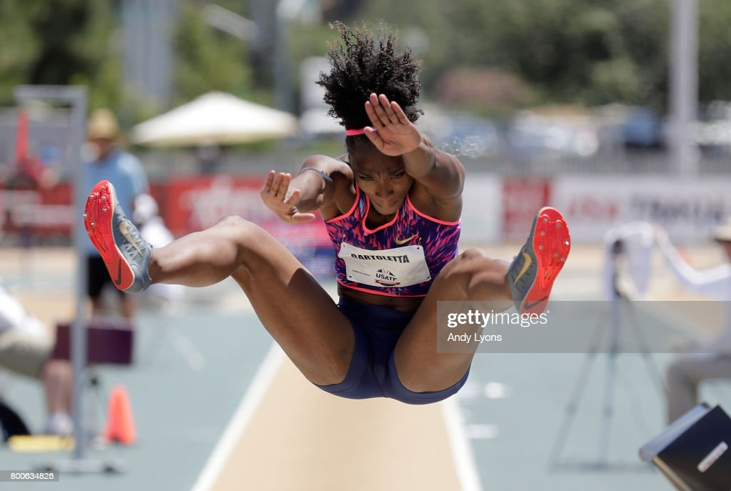 Tianna Bartoletta leaps to victory in the Women's Long Jump Final during Day 3 of the 2017 USA Track & Field Championships at Hornet Satdium on June 24, 2017 in Sacramento, California.