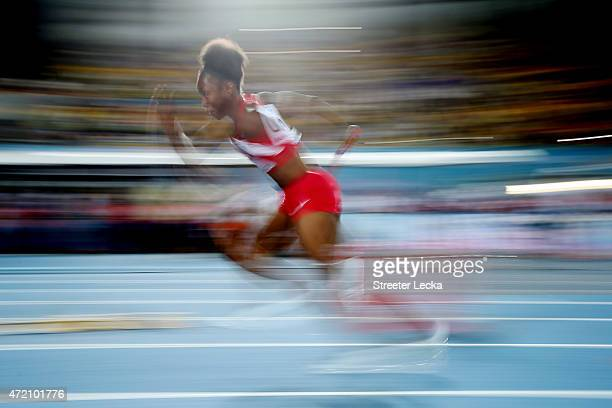 Tianna Bartoletta of the United States competes during the final of the women's 4 x 100 metres on day two of the IAAF/BTC World Relays Bahamas 2015...