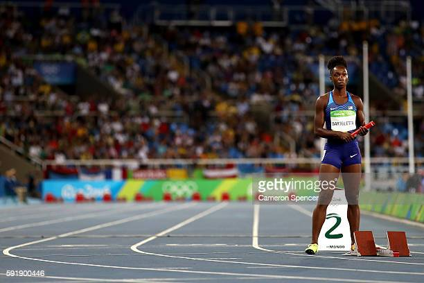 Tianna Bartoletta of the United States prepares to compete in the round one Women's 4 x 100m Relay ReRun on Day 13 of the Rio 2016 Olympic Games at...