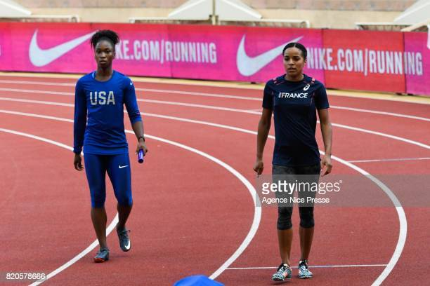 Tianna Bartoletta of USA and Orlann Ombissa of France 4x100 relay women during the IAAF Diamond League Meeting Herculis on July 21 2017 in Monaco...