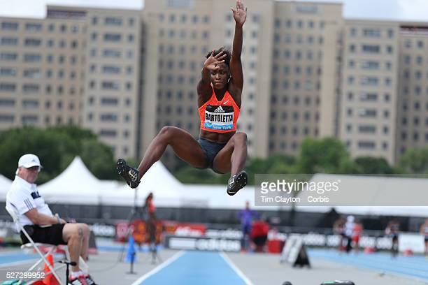 Tianna Bartoletta USA finishing second in the Women's long Jump competiton with a jump of 689m during the Diamond League Adidas Grand Prix at Icahn...