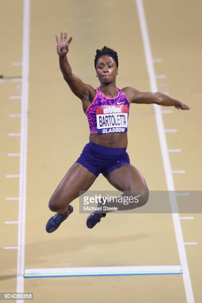 Tianna Bartolleta of USA competes in the women's long jump during the Muller Indoor Grand Prix at Emirates Arena on February 25 2018 in Glasgow...