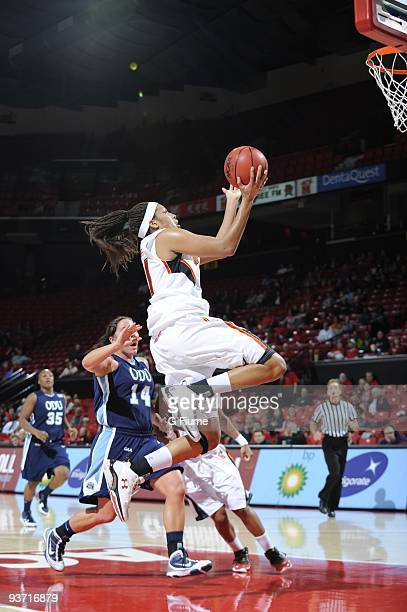 Tianna Hawkins of the Maryland Terrapins drives to the hoop against the Old Dominion Lady Monarchs at the Comcast Center on November 19 2009 in...