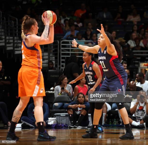 Tianna Hawkins of the Washington Mystics blocks the shot against the Phoenix Mercury on August 6 2017 at the Verizon Center in Washington DC NOTE TO...