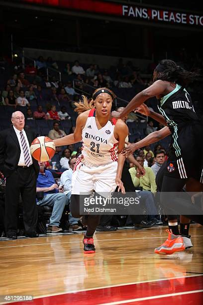 Tianna Hawkins of the Washington Mystics drives against the New York Liberty at the Verizon Center on May 30 2014 in Washington DC NOTE TO USER User...
