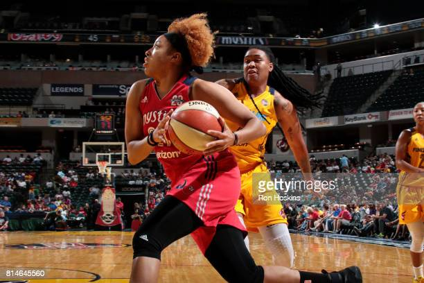Tianna Hawkins of the Washington Mystics drives to the basket during the game against the Indiana Fever during a WNBA game on July 14 2017 at Bankers...