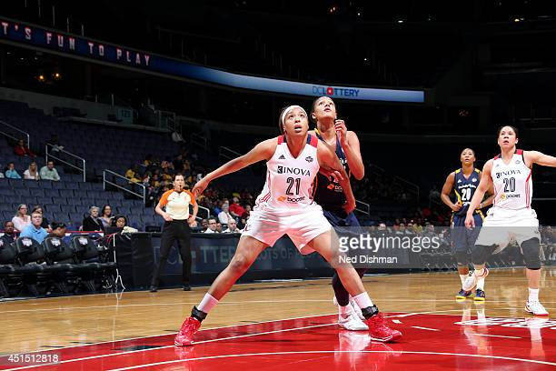 Tianna Hawkins of the Washington Mystics guards her position against the Indiana Fever at the Verizon Center on May 7 2014 in Washington DC NOTE TO...