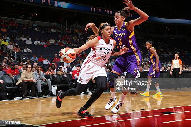 Tianna Hawkins of the Washington Mystics handles the ball against the Los Angeles Sparks at the Verizon Center on June 1 2014 in Washington DC NOTE...
