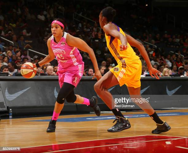 Tianna Hawkins of the Washington Mystics handles the ball against the Los Angeles Sparks on August 16 2017 at the Verizon Center in Washington DC...