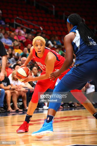 Tianna Hawkins of the Washington Mystics handles the ball against the Minnesota Lynx in a WNBA preseason game on May 6 2018 at the Wells Fargo Arena...