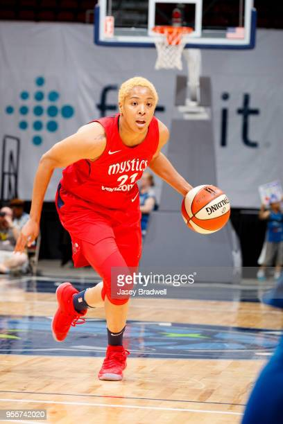 Tianna Hawkins of the Washington Mystics handles the ball against the Minnesota Lynx during a preseason game on May 6 2018 at the Wells Fargo Arena...