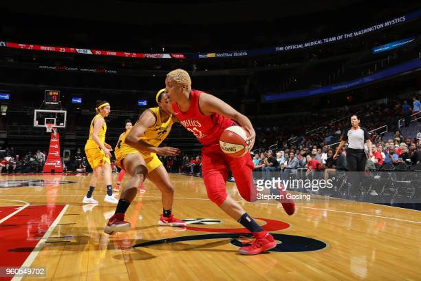 Tianna Hawkins of the Washington Mystics handles the ball against the Indiana Fever on May 20 2018 at Capital One Arena in Washington DC NOTE TO USER...