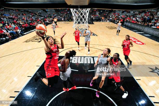 Tianna Hawkins of the Washington Mystics shoots a lay up during the game against the San Antonio Stars during a WNBA game on August 4 2017 at the ATT...