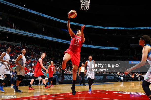 Tianna Hawkins of the Washington Mystics shoots a lay up during the game against the Minnesota Lynx in Game Three of the Semifinals during the 2017...