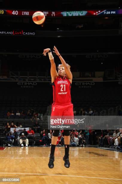 Tianna Hawkins of the Washington Mystics shoots the ball against the Minnesota Lynx on June 9 2017 at Verizon Center in Washington DC NOTE TO USER...