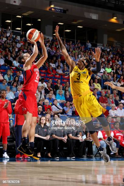 Tianna Hawkins of the Washington Mystics shoots the ball against the Indiana Fever during a preseason game on May 12 2018 at the Bob Carpenter Center...