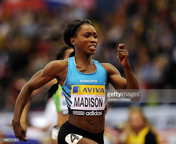 Tianna Madison of the USA competes during the Women's 60 Metres Final at the Aviva Grand Prix athletics meeting in the National Indoor Arena in...