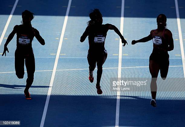 Tianna Madison Shalonda Solomon and LaShaunte'a Moore run in the womens 100 meter semi-final during the 2010 USA Outdoor Track & Field Championships...