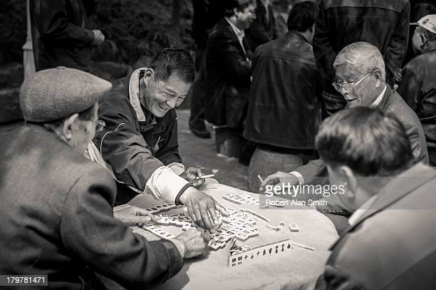 Tianshan Park in Shanghai where retired people of Shanghai visit each day to relax and play cards and Mah-jong
