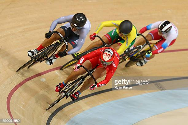 Tianshi Zhong of China leads Wai Sze Lee of Hong Kong China Simona Krupeckaite of Lithuania and Anastasiia Voinova of Russia during a Women's Sprint...