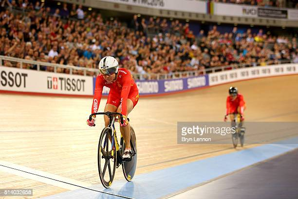 Tianshi Zhong of China races clear of Lin Junhong of China to win The Women's Sprint Final during Day Five of the UCI Track Cycling World...