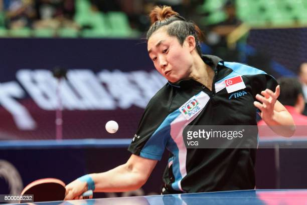 Tianwei Feng of Singapore competes during the women's singles first round match against Zhang Rui of China on the day one of the 2017 ITTF World Tour...