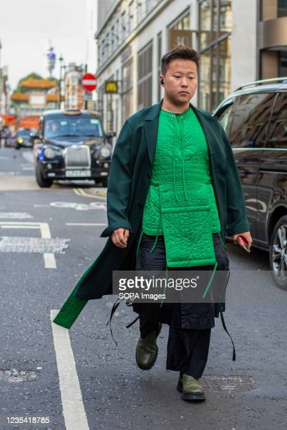 Tianwei Zhang attends Richard Quinn Fashion Show at the Londoner Hotel during the London Fashion Week day 5.